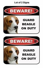 2 Count Beware Guard Beagle on Duty (v1) 9 inch x 11.5 inch Laminated Dog Sign