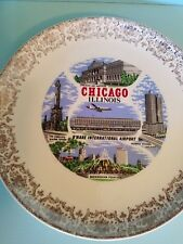 Vintage Souvenir Plate Chicago Illinois Airplane Art Institute