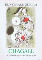 Marc Chagall,Kunsthaus Zurich Poster Offset Lithograph Vintage 1966 Platesigned
