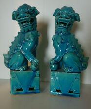 Paire de Chien de Foo Porcelaine Craquelé bleue ancien.