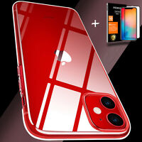 CLEAR Ultra Slim TPU Case Cover Glass Screen Protector FOR iPhone 12 11 Pro Max