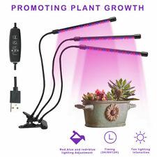 Plant Grow Light 3 Heads Lighting w/ Timer Greenhouse Garden Indoor Plants Lamp