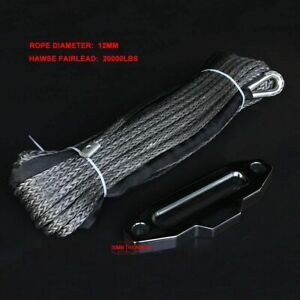 12MM X 30M Gray Synthetic Dyneema Winch Guide Rope Cable With Hawse Fairlead