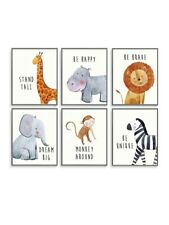 6 Pc Jungle Safari Baby Nursery Bedroom Wall Art Posters Decor Boy Girl Unisex