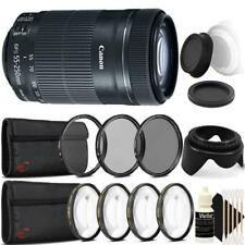 Canon EF-S 55-250mm F4-5.6 IS STM Lens w/ Accessory Bundle for Canon SLR Cameras