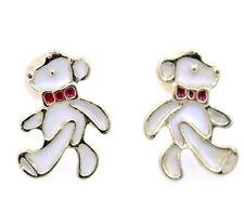 Gold tone enamel teddy bear stud earrings
