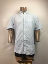 Arnold Palmer Large Short Sleeve Button Up. Sky Blue With Thin Stripes.