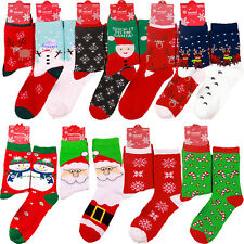 UNISEX MEN WOMEN CHRISTMAS SOCKS XMAS Santa Snowman Funny Happy Festive Socks