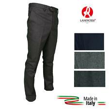 Pantalone Uomo Classico In pura Lana Senza Pens LANEROSSI Elegante Flanella ITA