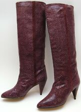 WOMENS VINTAGE CARRANO BURGUNDY TALL KNEE HIGH HEEL SNAKE SKIN? BOOTS 6.5~1/2 M