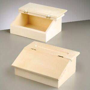 Small Wooden Writing Bureau Case Box Storage Office Desk Tidy Paint Craft 24cm