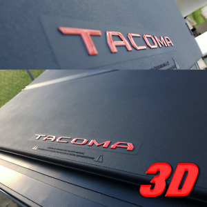 TOYOTA. TACOMA 2020 RAISED RED BED COVER LETTERS 3D DOMED