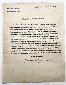 Hermann Roßmann. Schriftsteller, Filmemacher, Berlin, 1927. Brief.