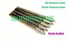 5 x (Bullet) Diamond Wheel Points-Engraving Cutter Bits Burrs Carving For Dremel