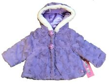 Toddlers Kids Girls Winter Faux Fur Warm Hood Jacket Coat with 2 pockets