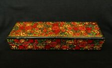 Vintage India Hand Painted Flowers Paper-Mache Oriental Jewelry Box