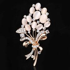 High Quality Opal Stone Flower Brooch Pin Rhinestone Scarf Clip Crystal Brooches