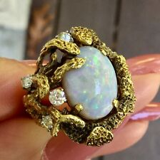 Large Vintage Opal and Diamond Free Form Ring 14k Yellow Gold Heavy 10.6 grams