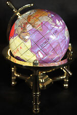 Multi-Gemstone 90mm Desktop Globe In Purple Pearl on Gold Tone Base Free S&H