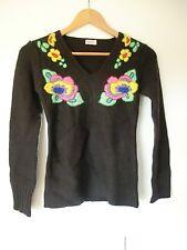 Nolita Damen Pullover braun mit Blumen Gr. S
