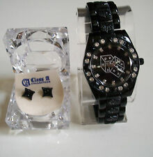 Men's hip hop Bling  black finish dice fashion watch with complementary earring