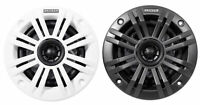 "Pair Kicker 45KM42 4"" Marine Coaxial Speakers with Charcoal and White Grilles"