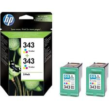 2 X GENUINE HP 343 COLOUR INK CARTRIDGES 1ST CLASS FAST POSTAGE 2 YEAR GUARANTEE