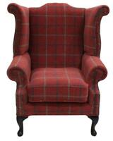 Chesterfield Saxon Queen Anne High Back Wing Chair Lana Terracotta Check Fabric