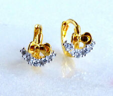 fashion1uk Love Charm Cubic Zirconia 24K Yellow Gold Plated Tiny Weeny Earrings