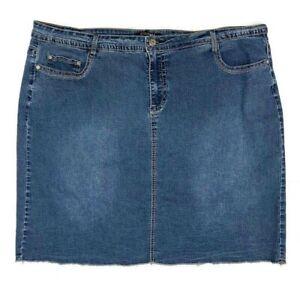 Roz & Ali Denim Skirt Zip Front Raw Hem Pockets Stretchy Plus Size 22