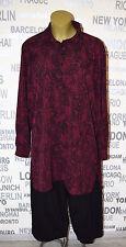 OPHILIA: modisches Lagenlook Blusen Long Shirt bordeaux/schwarz 50 - 52 SALE 30%
