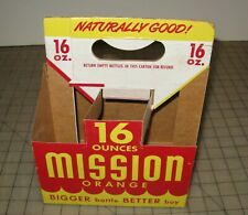 Vintage MISSION BEVERAGES 16oz 6 Pack Used Yellow Paper Carton - Fair Condition