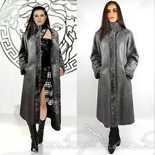 Swakara cuero maxi inflexión abrigo gris saga furs reversible coat 40 42 L XL mercancía nueva