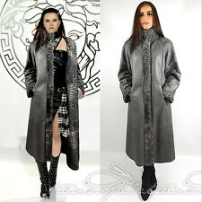 SWAKARA LEDER MAXI WENDEMANTEL GRAU SAGA FURS  reversible coat 40 42 L XL NEUw.