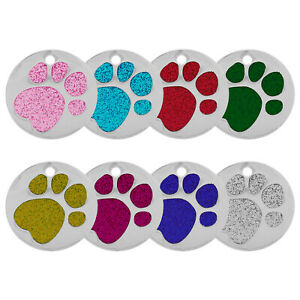 ROUND GLITTER PAW ENGRAVED DOG ID NAME TAG DISC PERSONALIZED PET CAT IDENTITY
