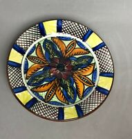 """Mexico Art Pottery Hand Painted 10"""" Wall Plate Floral Glazed Design"""
