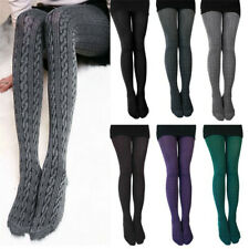 Elastic Winter Cable Knit Sweater Footed Tights Warm Stretch Stockings Pantyhose