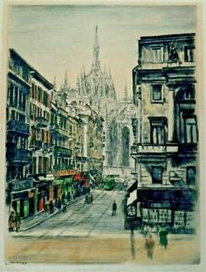 """BELA SZIKLAY ARTIST PENCIL SIGNED ETCHING ENGRAVING OF """"MILANO"""" ITALY CITY"""
