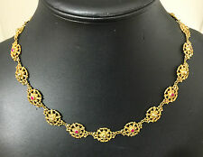 A Fabulous Georgian Silver Gilt Ruby & Diamond Necklace Circa 1800's