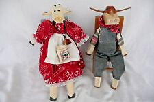 Vtg. Folk Art Hand Carved Wooden Cows Country Clothing Red Dress Bandana Chairs