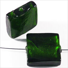 Set of 4 Glass Beads Sheet D'Silver Square 20mm Green