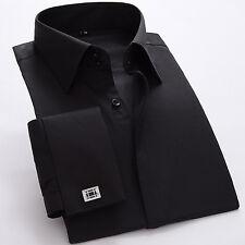 Men's French Double Cuff Dress Shirt Slim Luxury Formal XS S M L XL XXL K334