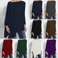 Womens Ladies Long Sleeve Irregular Sweatshirt Loose Print Pullover Tops Blouse