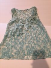 Halogen Nordstrom Womens Light Blue Floral Print Ruffles 100% Silk Tank Top Cami