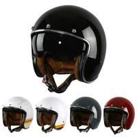 3/4 Open Face Motorcycle Helmet w/ Sun Visor Cruiser Scooter Racer Retro Vintage