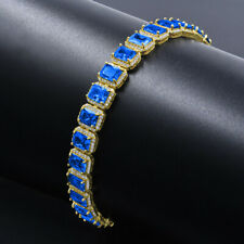 Blue Sapphire Solitaire Unisex Bracelet 14K Gold Finish Simulated Diamonds 8.5''