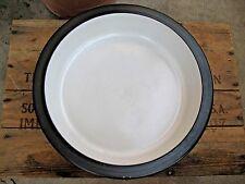 """Vintage Heath Stoneware Large 11-1/2"""" Round Casserole Dish Brown & White USA"""