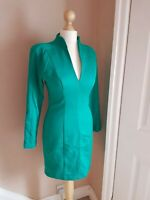 Forever Unique Green Long Sleeve Bodycon Dress Padded Shoulders Size UK8