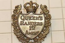 WW2 ERA CANADIAN ARMY CAP BADGE QUEENS RANGERS IST AMERICAN