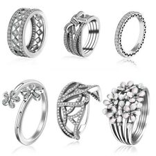 European Jewelry Flower Crown Zirconia CZ Silver Ring For Wedding Girl Hot Gift